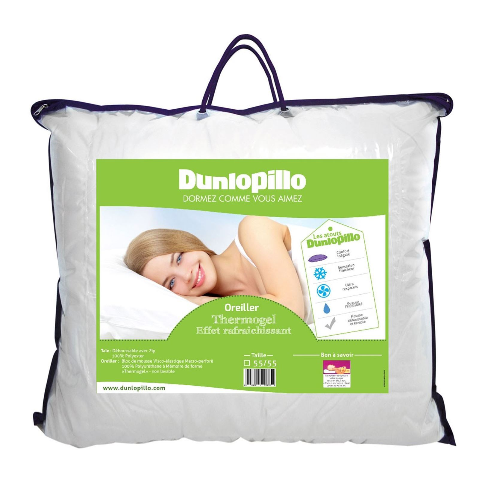 oreiller dunlopillo thermogel