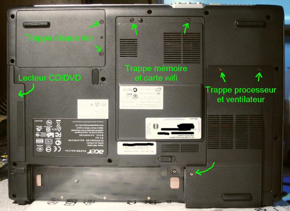 ouvrir pc portable acer